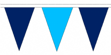Navy Blue and Sky Blue Traditional 20m 54 Flag Polyester Triangle Flag Bunting